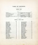 Table of Contents, Marshall County 1928